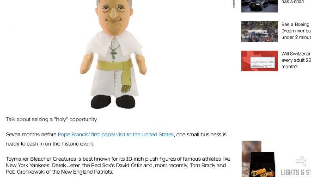 """Pope Francis has arrived...as a """"plush doll"""" - Feb. 16, 2015"""